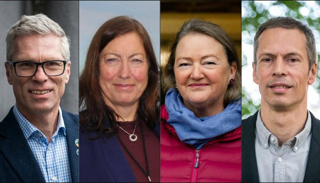 De fire forskningsdirektørene ved Havforskningsinstituttet f.v. Geir Lasse Taranger, Gro-Ingunn Hemre, Karin Kroon Boxaspen og Geir Huse ønsker at sittende direktør Sissel Rogne skal få forlenget sitt åremål.