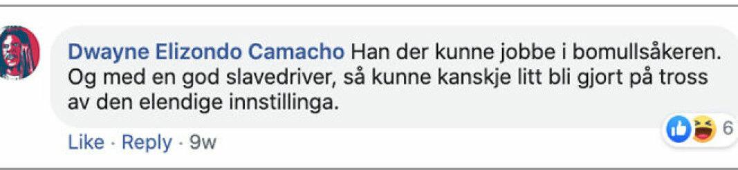 Denne ytringen er postet på en av de anonyme facebookprofilene som Eikrem skal ha hatt tilgang til.
