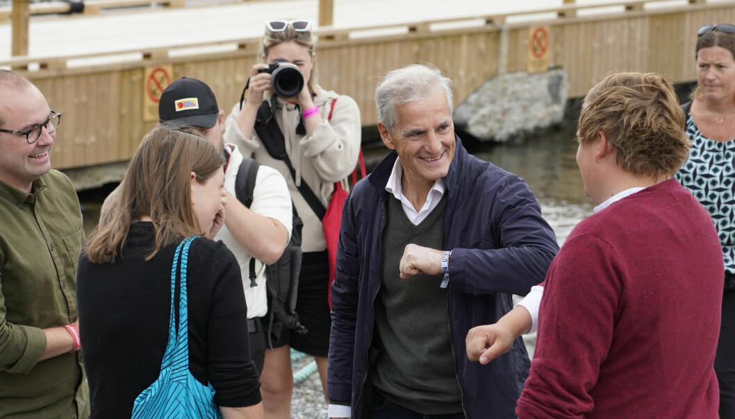 Arbeiderparti-leder Jonas Gahr Støre besøkte AUFs sommerleir på Utøya tirsdag. Her la han fram Arbeidspartiets løfter til unge før valget i september