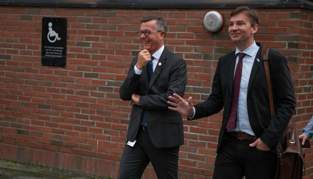 UiT-rektor Dag Rune Olsen og statsråd Henrik Asheim under tirsdagens semesteråpning i Tromsø.