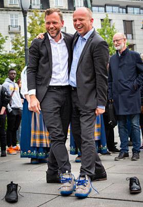 SV-leder Audun Lysbakken og Sp-leder Trygve Slagsvold Vedum i aksjon foran Stortinget i 2019 for høyere utdanning på Nesna