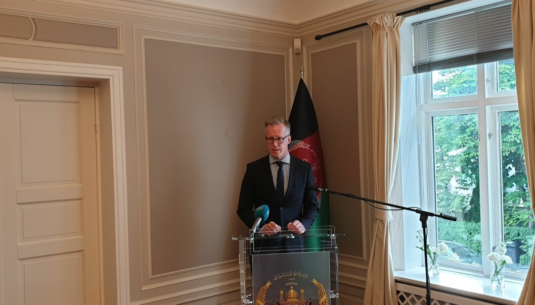 Rektor ved NMBU, Curt Rice, talte på et arrangement på den afghanske ambassaden i Oslo fredag ettermiddag.