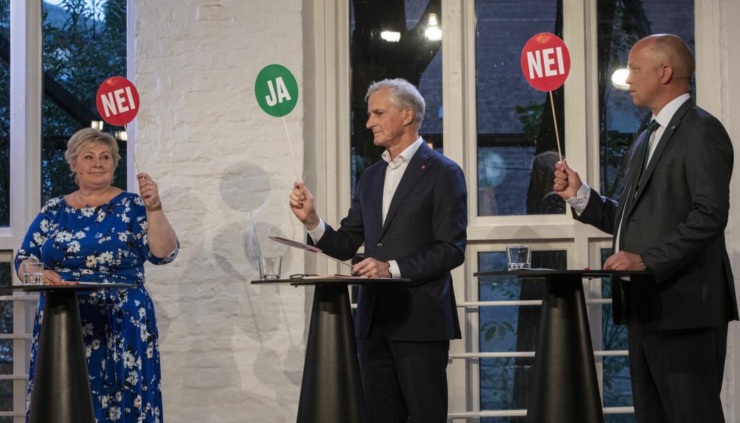 Flest studenter ønsker Høyres Erna Solberg som statsminsiter for en ny periode, men rett bak ligger Arbeiderpartiets Jonas Gahr Støre.