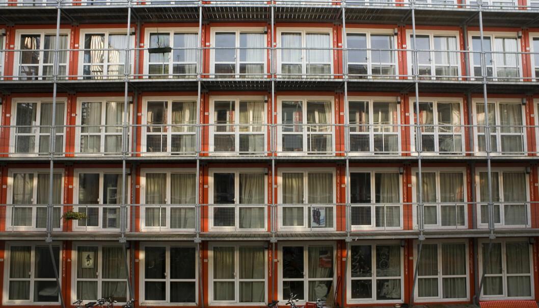 Kontainere brukt som midlertidige studentboliger i Amsterdam.
