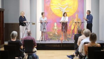 Kristin Clemet (f.v.), Anine Kierulf, Åse Gornitzka i samtale om akademisk frihet, ledet av Aslak Bonde.