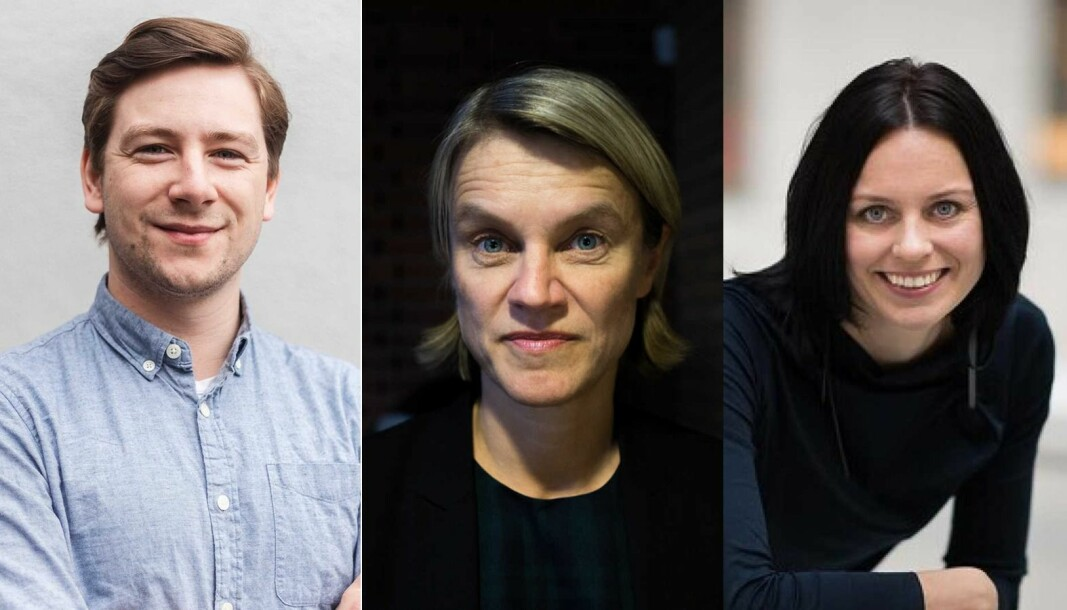 Andreas Sjalg Unneland (SV), Nina Sandberg (Ap) og Aase Marthe Johansen Horrigmo (H) er klare for politisk debatt torsdag kl.10 -utspørring ved Nifu og Khrono..
