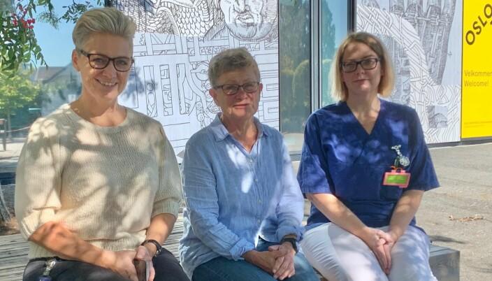 Ansatte i sykepleierutdanningen ved campus Kjeller, OsloMet: Inger Helen Sekse Hilleren, Kari Anne Hakestad og Gro Røkholt.