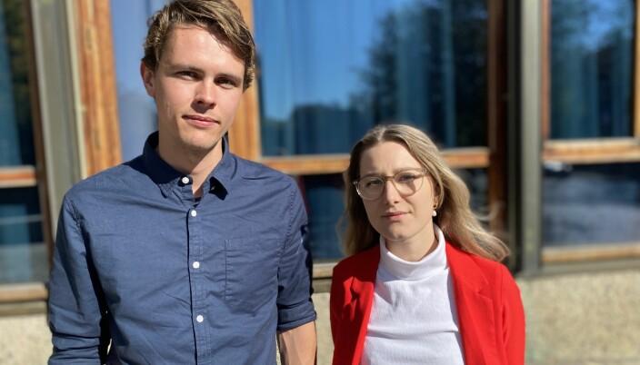 Erik Ettner Sanne og Vilde Elizabeth Larsen er nestleder og leder i sosialforeningen til masterstudentene i statsvitenskap.