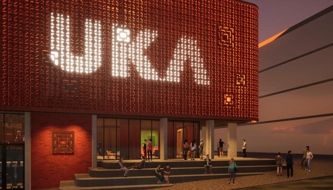 Her er den foreløpige fasaden til nybygget til Studentersamfundet i Trondheim.