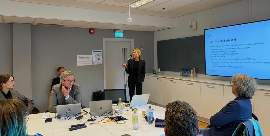 Fungerende rektor Nina Waaler på styremøtet ved OsloMet 15. september.