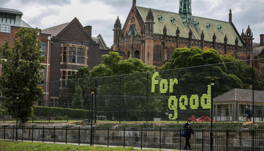 Bilde fra University of Sydney i mars 2021. Universitetene i landet er hardt rammet av pandemien.