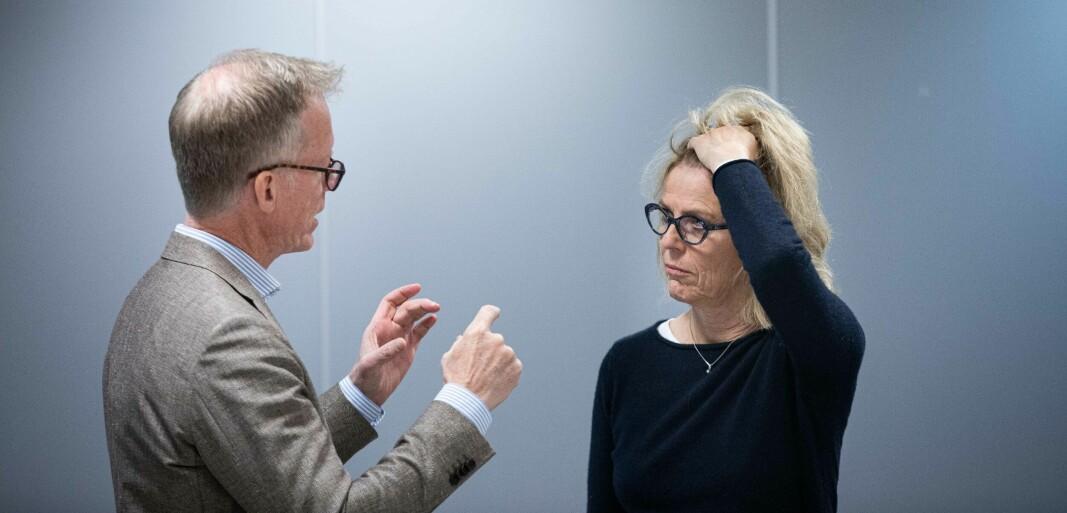 — Jeg har gjort meg noen dyrekjøpte erfaringer den siste uka, sier NMBU-rektor Curt Rice. Her i samtale med sin nye styreleder, Hanne Refsholt.