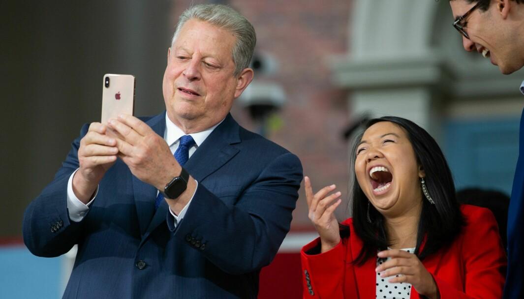 Tidligere visepresident Al Gore under en tale på Harvard i 2019, der han ber universitetet kvitte seg med investeringer i fossil energi.