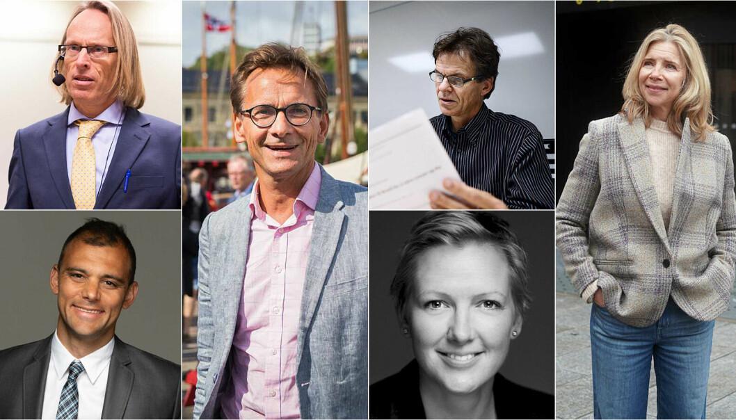 F.v. øverst: Morten Irgens, Christen Krogh, Einar Braathen, Nina Waaler, Carl Thodesen, og Tale Skjølsvik er noen av de 13 søkerne til rektorstillingen ved OsloMet, de neste seks årene.