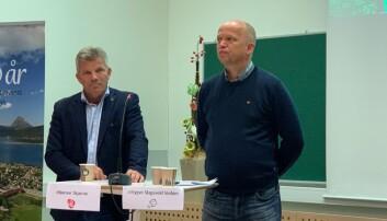 Bjørnar Skjæran (Ap) og Trygve slagsvold Vedum (Sp) på valgkampdebatt på Nesna i høst..