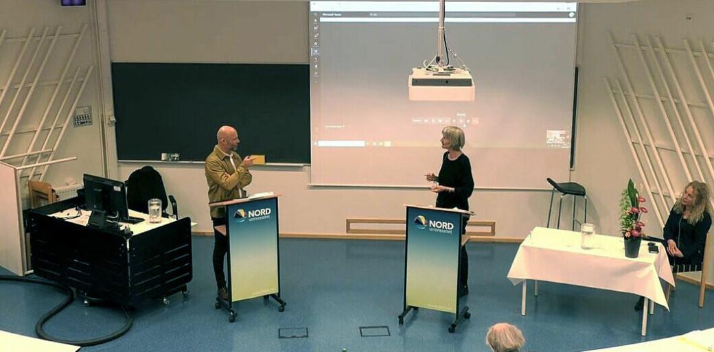 Førsteopponent Hedda Giertsen, professor emerita i kriminologi ved Universitetet i Oslo, hadde ingen spørsmål til Andreas Ribe-Nyhus om etikk under disputasen i Bodø i august i fjor.