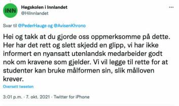 Like etter klokka 15 torsdag ettermiddag tvitra Høgskulen i Innlandet følgjande melding.